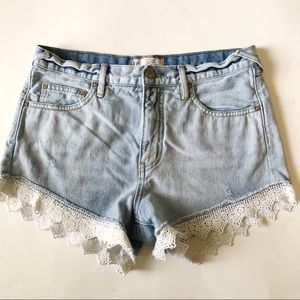 Free People High Rise Lace Trim Shorts